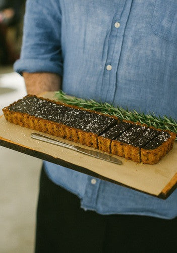 Salted chocolate rosemary tart