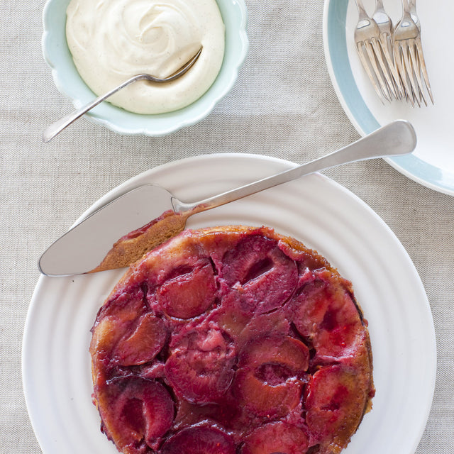 Plum Upside-down Cake with Vanilla Mascarpone