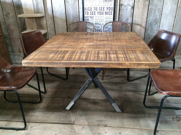 Vintage Industrial Rustic Reclaimed Plank Square Top