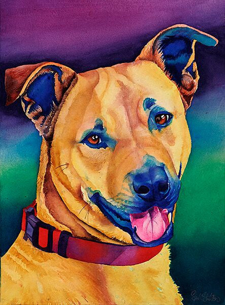 Mac: Signed Print from original watercolor dog painting.