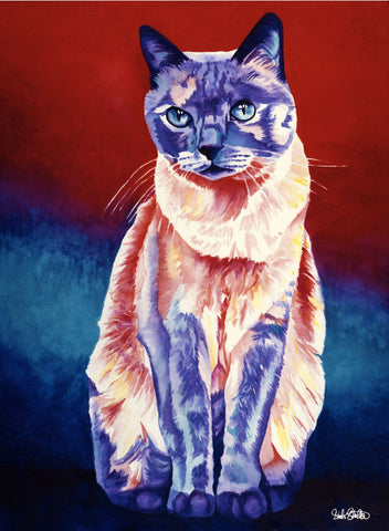 Abbey: Signed Print from original watercolor cat painting.