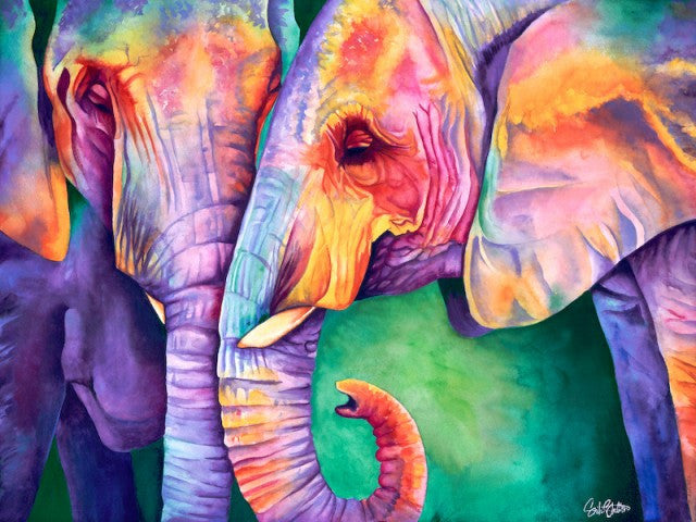 All Ears: Signed Print from original watercolor elephant painting.