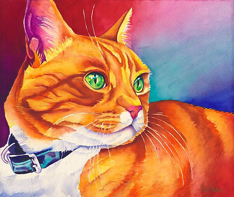 Chester: Signed Print from original watercolor cat painting.