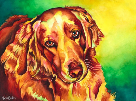 Golden Bailey: Signed Print from original watercolor dog painting.