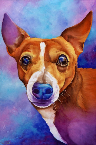 Bailey Muffin Man: Signed Print from original watercolor dog painting.