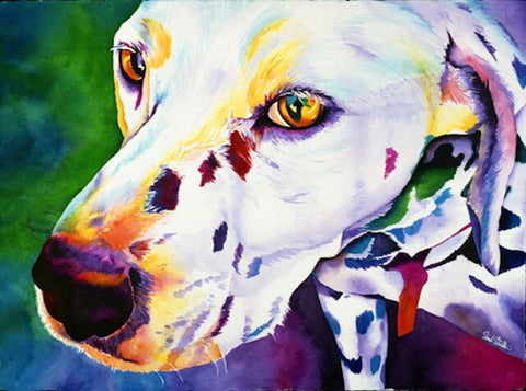 Bailey: Signed Print from original watercolor dog painting.