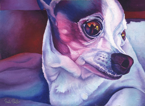 Bebe: Signed Print from original watercolor chihuahua dog painting.