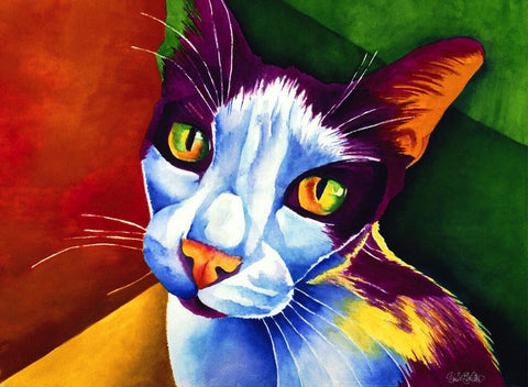 Blobber: Signed Print from original watercolor cat painting.