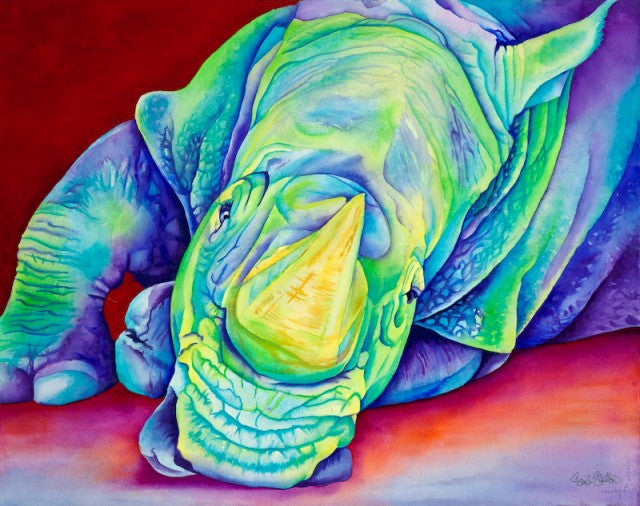 Blue Rhino: Signed Print from original watercolor rhinoceros painting.