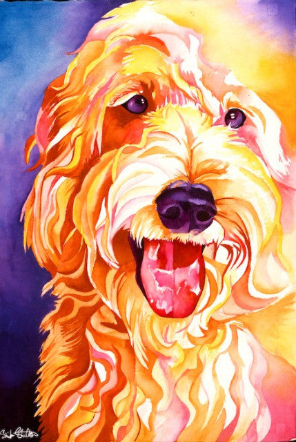 Boomer: Signed Print from original watercolor dog painting.