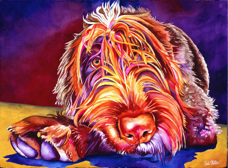 Byrnie: Signed Print from original watercolor dog wirehaired pointing griffon painting.