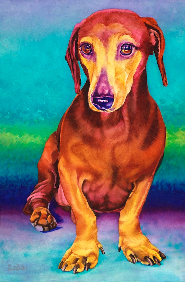 Charlotte: Signed Print from original watercolor dachsund painting.