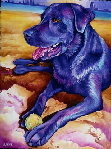Chongo: Signed Print from original watercolor dog painting.