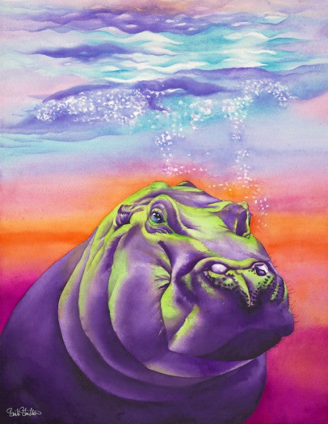 Clementine: Signed Print from original watercolor hippopotamus painting.