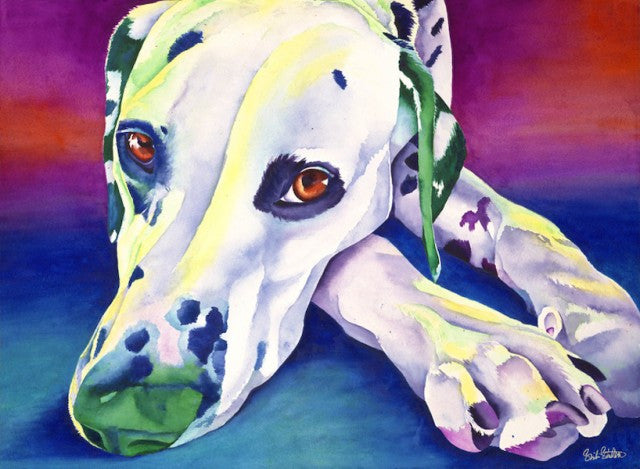 Cosmo: Signed Print from original watercolor dog painting.