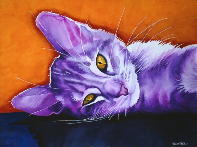 Daisy Mae: Signed Print from original watercolor cat painting.