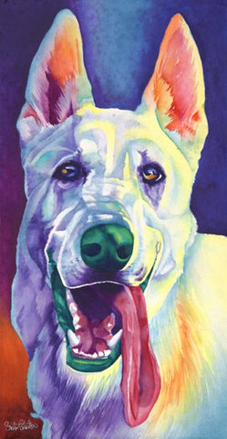 Dallas: Signed Print from original watercolor white german shepherd watercolor painting.