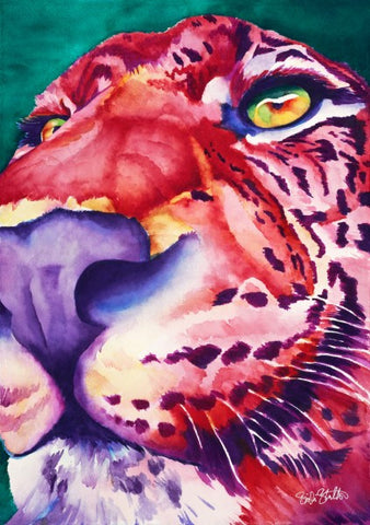 Fire Leopard: Signed Print from original watercolor cat leopard painting