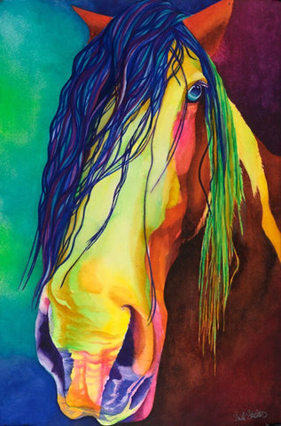 Gideon the Stallion: Signed Print from original watercolor horse painting.
