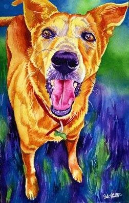 Gunny: Signed Print from original watercolor dog painting.