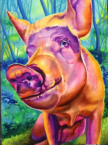 Harrison: Signed Print from original watercolor pig painting.