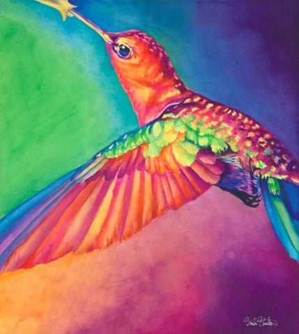 Hum: Signed Print from original watercolor hummingbird painting.