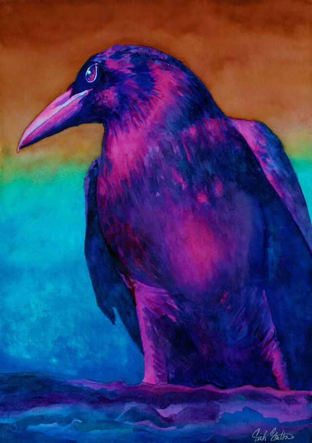 Ivan: Signed Print from original watercolor raven painting.