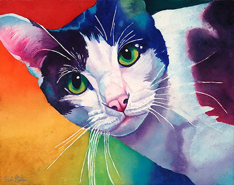 JJ: Signed Print from original watercolor cat painting.