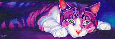 Babs Lays Low: Signed Print from original watercolor cat painting.