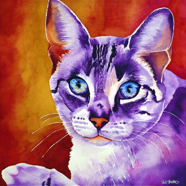 Keena: Signed Print from original watercolor cat painting.