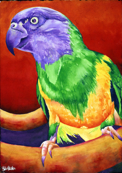 Leon: Signed Print from original watercolor parrot painting.