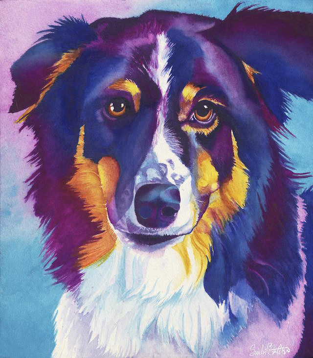 Lily: Signed Print from original watercolor dog painting.