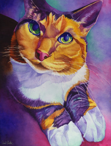 Lucie Lou: Signed Print from original watercolor cat painting.