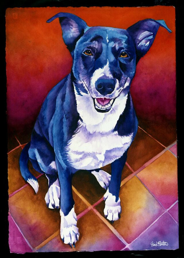 Luna: Signed Print from original watercolor dog painting.