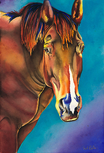 Marlon: Signed Print from original watercolor horse painting.