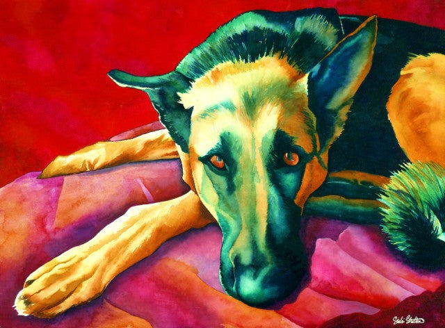 Maximus: Signed Print from original watercolor german shepherd painting.