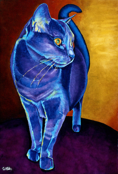 Muffin: Signed Print from original watercolor cat painting.