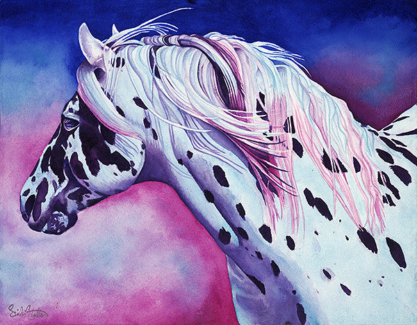 Pokey Blue: Signed Print from original watercolor horse painting.