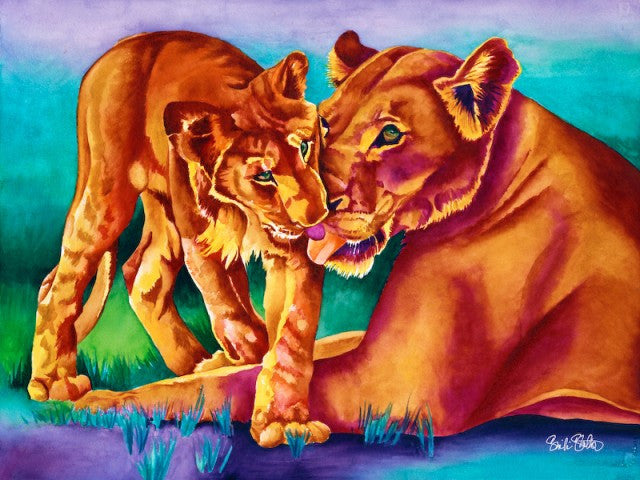 Pride: Signed Print from original watercolor lioness and cub painting.