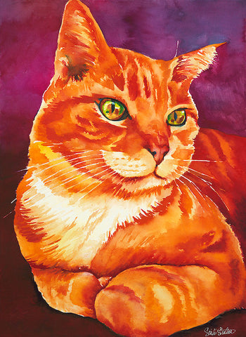 Red: Signed Print from original watercolor cat painting.