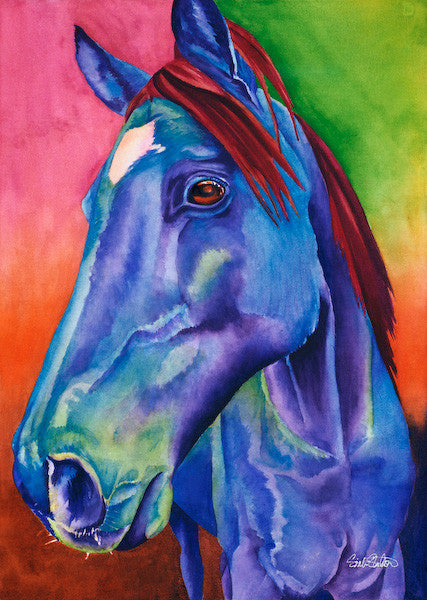 Rio Blue: Signed Print from original watercolor horse painting.
