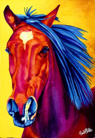 Rio: Signed Print from original watercolor arabian horse painting.