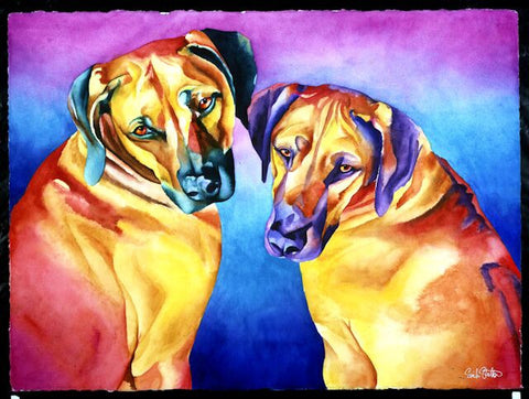Ripley & Dasi: Signed Print from original watercolor dog painting.