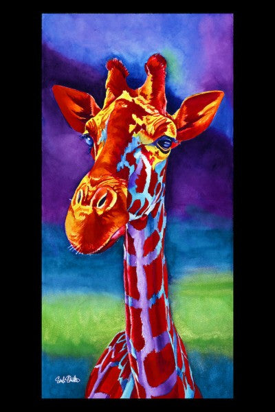 Roger: Signed Print from original watercolor giraffe painting.