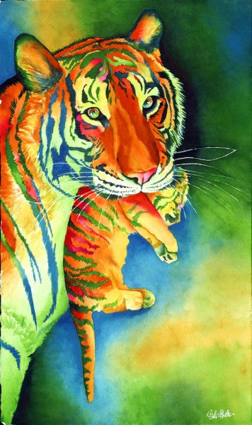 Sanctuary: Signed Print from original watercolor tiger and cub painting.