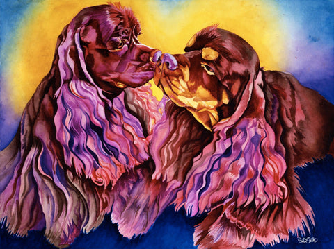 Savvy and Nash: Signed Print from original watercolor dog painting.