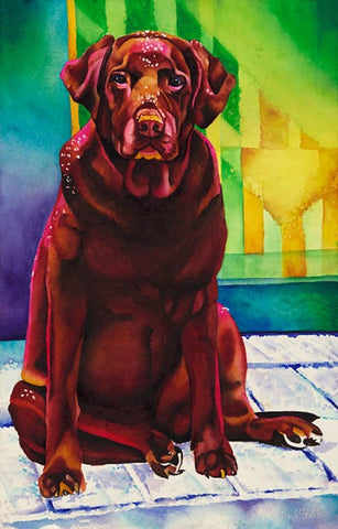 Scarlet: Signed Print from original watercolor labrador dog painting.