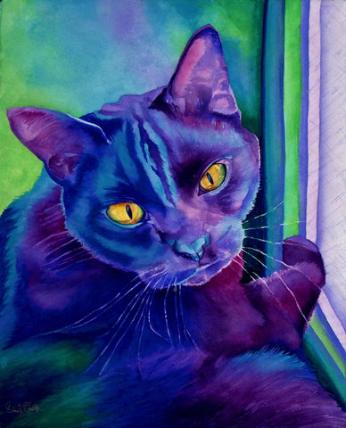 Scout: Signed Print from original watercolor cat painting.