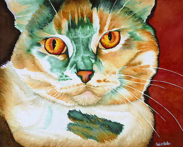 Sherri Lynn: Signed Print from original watercolor cat painting.