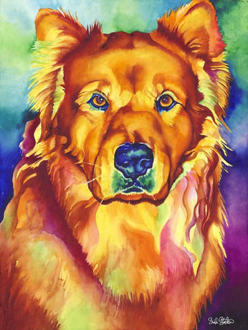 Shing: Signed Print from original watercolor chow chow dog painting.